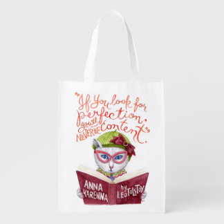 """""""If you look for perfection"""" Leo Tolstoy quote Market Totes"""
