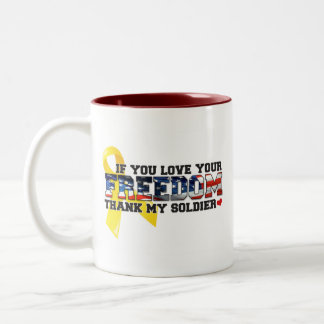 If you love your Freedom thank my Soldier Two-Tone Coffee Mug