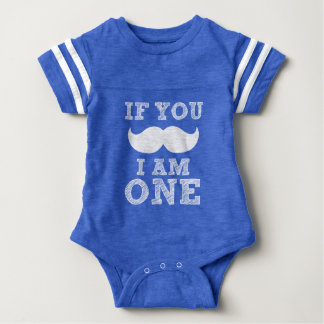If you Mustache I'm ONE funny baby boy birthday Baby Bodysuit