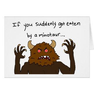 """""""If You Suddenly Got Eaten by a Minotaur"""" Card"""