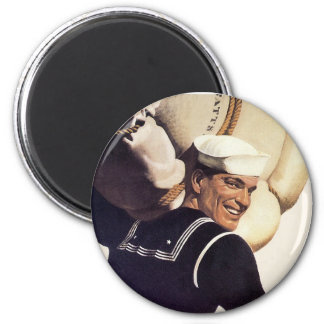 If you tell where he's going... 2 inch round magnet