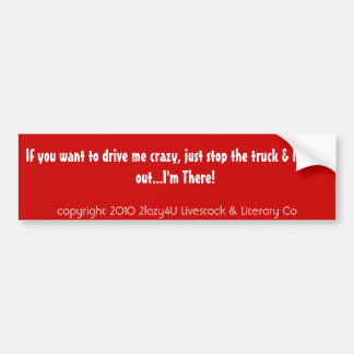 If you want to drive me crazy, just stop the tr... car bumper sticker