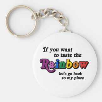 If you want to taste the rainbow basic round button keychain