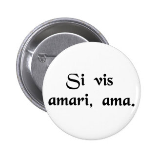 If you wish to be loved, love. pinback button