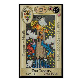 Ifdawn Deepdream Tarot Key 16 ~ The Tower Poster