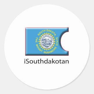iFlag Dakota del Sur Pegatina Redonda