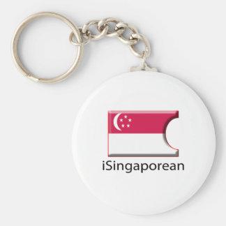 iFlag Singapore Basic Round Button Keychain