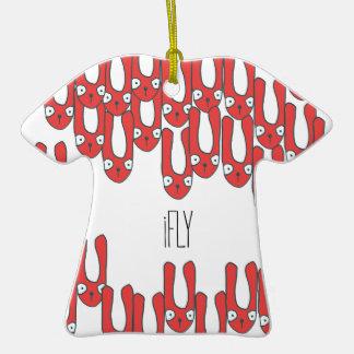 iFly - conejos que caen con los oídos largos Adorno De Cerámica En Forma De Camiseta