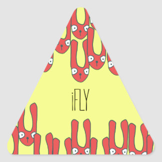 iFly - falling rabbits with long ears Triangle Sticker