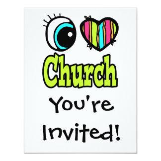 """Iglesia brillante del amor del corazón I del ojo Invitación 4.25"""" X 5.5"""""""