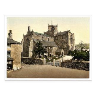 Iglesia, Cartmel, vintage Photochrom de Inglaterra Postales