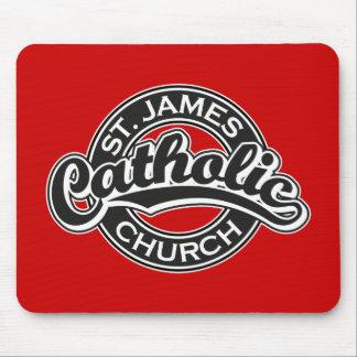 Iglesia católica de San Jaime blanco y negro Mouse Pads