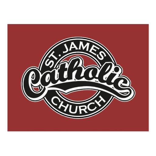 Iglesia católica de San Jaime blanco y negro Tarjeta Postal