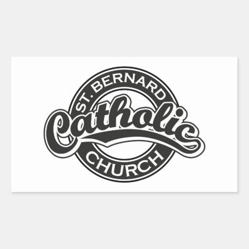 Iglesia católica de ST BERNARD blanco y negro Pegatina Rectangular