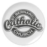 Iglesia católica de ST BERNARD blanco y negro Plato De Cena
