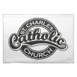 Iglesia católica de St Charles blanco y negro Manteles Individuales