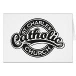Iglesia católica de St Charles blanco y negro Tarjetón