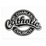 Iglesia católica de St Charles blanco y negro Tarjetas Postales