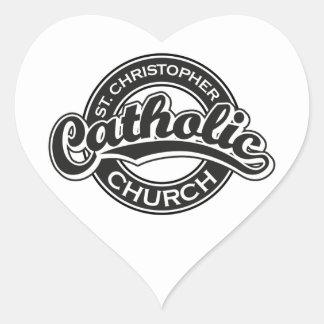 Iglesia católica de St Christopher blanco y negro Colcomanias De Corazon