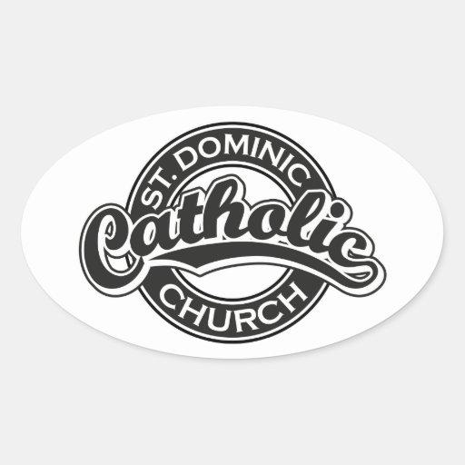 Iglesia católica de St Dominic blanco y negro Pegatina Ovalada