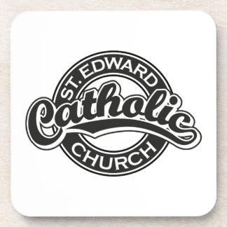 Iglesia católica de St Edward blanco y negro Posavasos