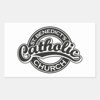 Iglesia católica del St. Benedicto blanco y negro Rectangular Pegatinas