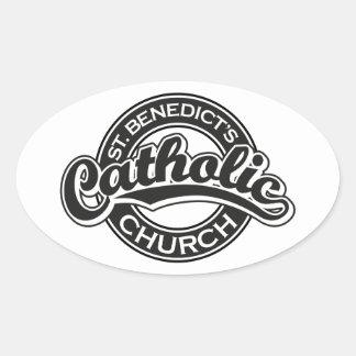 Iglesia católica del St. Benedicto blanco y negro Calcomanías De Óvales Personalizadas