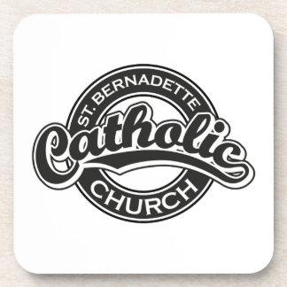 Iglesia católica del St. Bernadette blanco y negro Posavasos De Bebidas