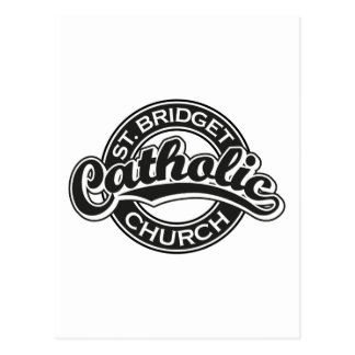 Iglesia católica del St. Bridget blanco y negro Postales
