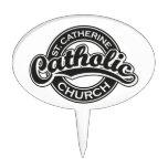Iglesia católica del St. Catherine blanco y negro Decoraciones Para Tartas