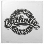 Iglesia católica del St. Clare blanco y negro Servilleta Imprimida