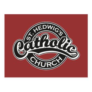 Iglesia católica del St. Hedwig blanco y negro Tarjetas Postales