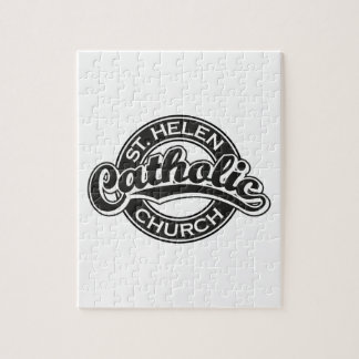 Iglesia católica del St. Helen blanco y negro Puzzle