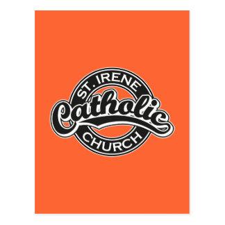 Iglesia católica del St. Irene blanco y negro Postal