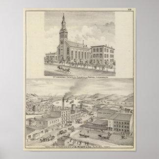 Iglesia católica y escuela de St Lawrence Poster