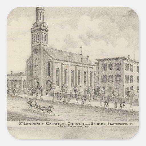 Iglesia católica y escuela de St Lawrence Calcomanias Cuadradas