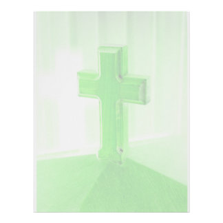 Iglesia cruzada de madera verde de la imagen de la membrete
