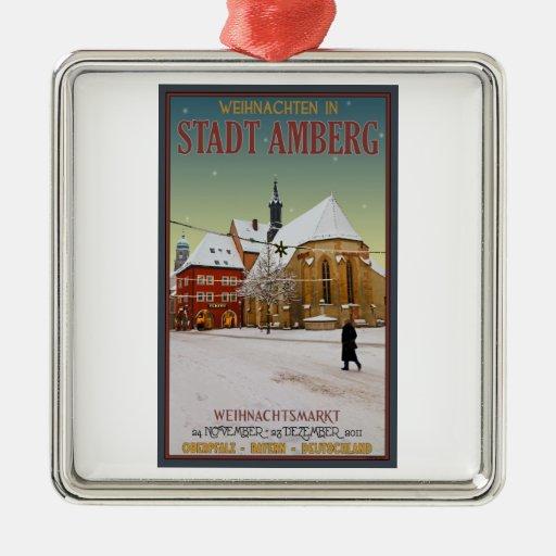 Iglesia de Amberg Weihnachten Adorno Cuadrado Plateado