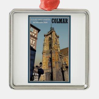 Iglesia de Colmar - de St Martins Adorno Navideño Cuadrado De Metal
