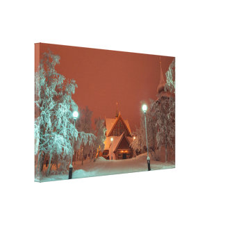 Iglesia de Kiruna en la impresión de la lona del Impresión En Tela