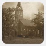 Iglesia de la arboleda de la biblia calcomanía cuadradas
