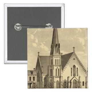 Iglesia de la libertad del este del corazón sagrad pin cuadrada 5 cm