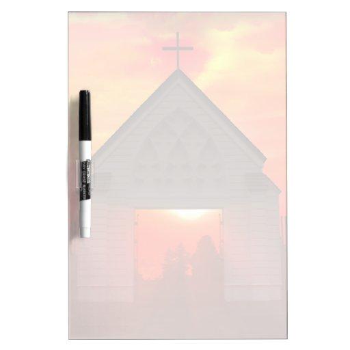 Iglesia de la salida del sol/de la puesta del sol tablero blanco