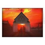 Iglesia de la salida del sol/de la puesta del sol tarjeta de felicitación