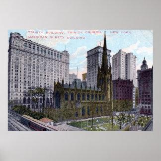 Iglesia de la trinidad, vintage 1912 de New York Póster