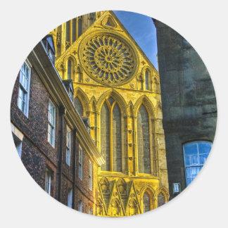 Iglesia de monasterio de York de la ventana color Pegatinas Redondas