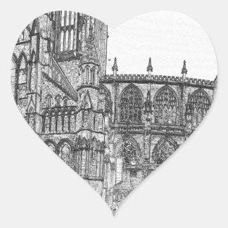 Iglesia de monasterio de York en el ancho Pegatina En Forma De Corazón