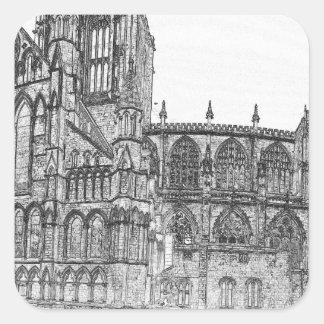 Iglesia de monasterio de York en el ancho Pegatina Cuadrada