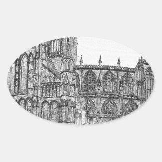 Iglesia de monasterio de York en el ancho Pegatina Ovalada