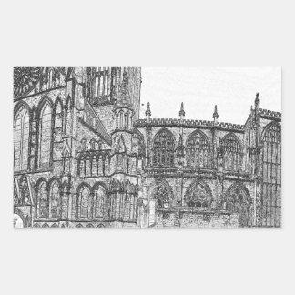 Iglesia de monasterio de York en el ancho Pegatina Rectangular